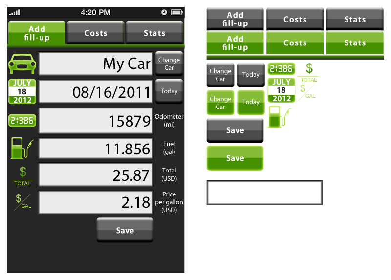 Graphic design user interface user interface iphone fuel app
